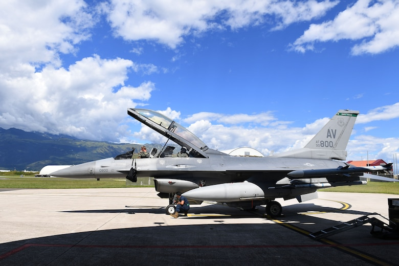 U.S. Air Force Staff Sgt. Devon Kercher, 31st Operations Support Squadron Radar Approach Control senior watch supervisor, and a U.S. Air Force F-16 Fighting Falcon pilot prepare for takeoff at Aviano Air Base, Italy, Sept. 3, 2020. Kercher was recently recognized as the 2019 U.S. Air Forces in Europe Air Traffic Controller of the Year and was participating in a familiarization flight. (U.S. Air Force photo by Staff Sgt. Valerie Halbert)