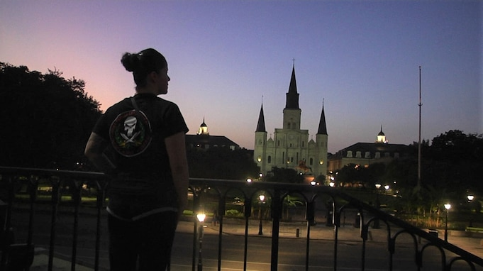 Sgt. 1st Class Yasmin Boneta, senior mortuary affairs adviser for the 377th Theater Sustainment Command, pauses to look out over Jackson Square in downtown New Orleans, Sept. 1, 2020.