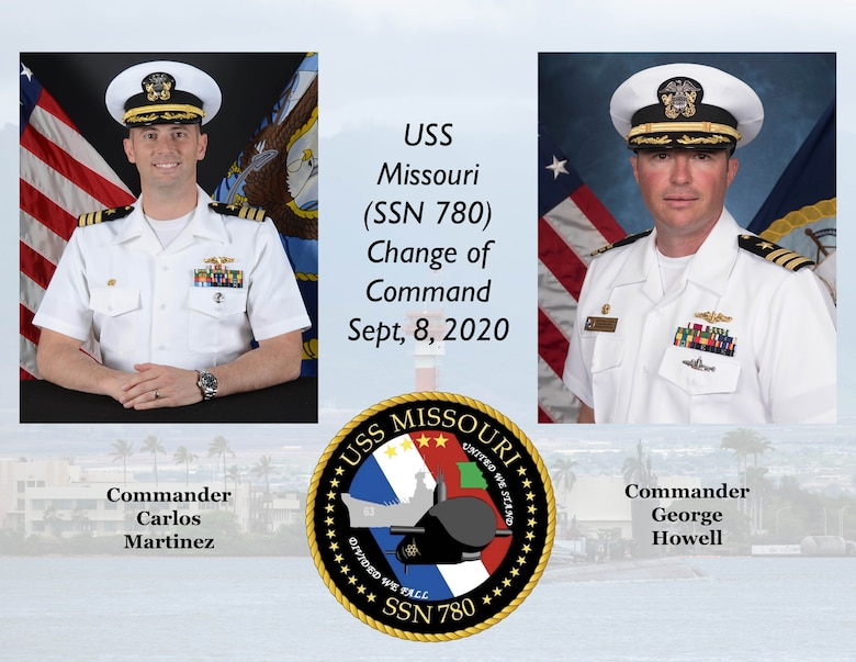 A graphic showing the incoming and outgoing commanding officers of USS Missouri (SSN 780).
