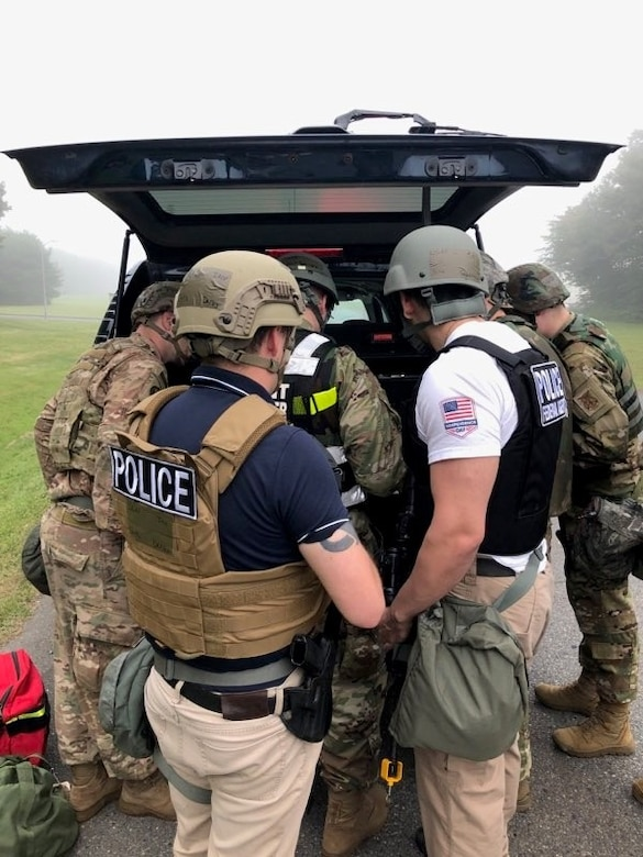 Office of Special Investigations Special Agents plan a response with the 35th Security Forces Squadron after an exercise attack on Misawa Air Base, Japan, during PACIFIC RONIN Aug. 23-28, 2020. (Photo by SA Brian Fitch, OSI Det. 623)