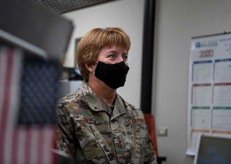 Lt. Gen. Dorothy A. Hogg, U.S. Air Force Surgeon General, is briefed.