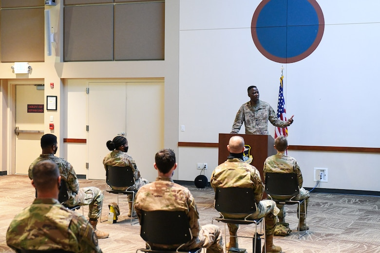 Colonel Jake Middleton, Aerospace Data Facility-Colorado commander, speaks to Airmen that are preparing to transfer over to the United States Space Force Sept. 10, 2020, at the Leadership Development Center on Buckley Air Force Base, Colo.