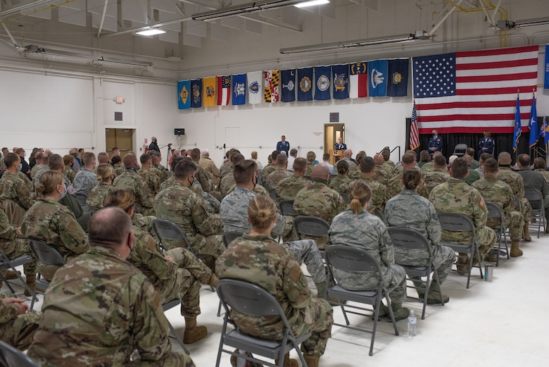 Col. Leslie Zyzda-Martin, Volk Field's newest commander, gives a speech during her Assumption of Command Ceremony