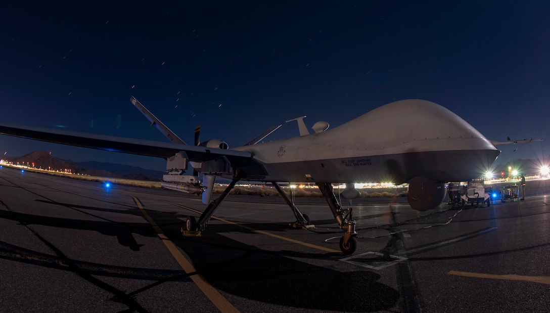 Image of an MQ-9 armed with an AIM-9X missile