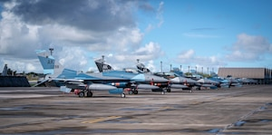 U.S. Air Force F-16 Fighting Falcons assigned to the 18th Aggressor Squadron, Eielson Air Force Base, Alaska, sit on the flightline in support of Valiant Shield 2020 at Andersen AFB, Guam, Sept. 11, 2020.