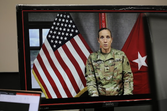 Brig. Gen. Susan Henderson, commanding general of the 4th Expeditionary Sustainment Command gives her opening remarks during the first virtual Stand for Life suicide prevention training event with 79 suicide prevention liaisons across Army Reserve units throughout the continental U.S.