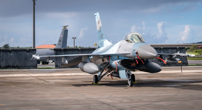 A U.S. Air Force F-16 Fighting Falcon assigned to the 18th Aggressor Squadron, Eielson Air Force Base, Alaska, sits on the flightline in support of Valiant Shield 2020 at Andersen AFB, Guam, Sept. 11, 2020.
