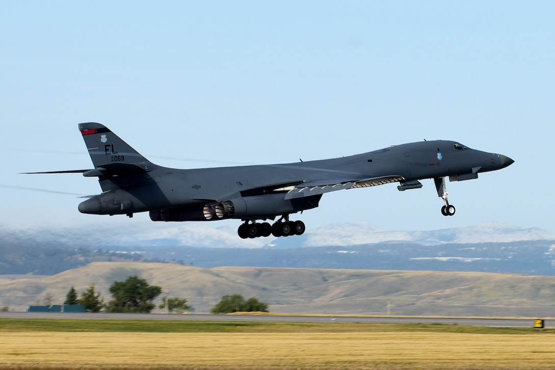 A B-1B Lancer assigned to the 34th Bomb Squadron, Ellsworth Air Force Base, S.D., launches in support of a Bomber Task Force deployment to Andersen AFB, Guam, Sept. 9, 2020. Four B-1s deployed to Andersen AFB as part of U.S. Strategic Command's support to the National Defense Strategy objectives of strategic predictability and operational unpredictability by using a mix of different aircraft to and from various dispersed U.S. bases and other departure and arrival points, to include Guam. (U.S. Air Force photo by Airman 1st Class Quentin Marx)