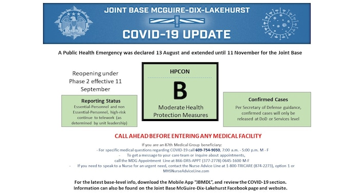 Graphic showing that Joint Base McGuire-Dix-Lakehurst is currently in HPCON BRAVO as of Sept. 11, 2020.