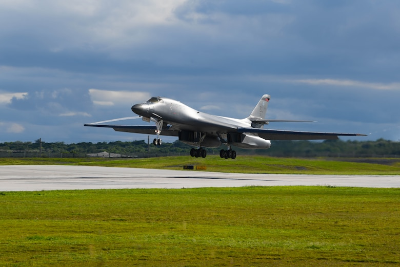 A B-1B Lancer assigned to the 34th Bomb Squadron, Ellsworth Air Force Base, S.D., lands at Andersen AFB, Guam, for a Bomber Task Force deployment, Sept. 10, 2020. The BTF is deployed to Andersen AFB to support Pacific Air Forces' training efforts with allies, partners and joint forces; and strategic deterrence missions to reinforce the rules-based order in the Indo-Pacific region. (U.S. Air Force photo by Staff Sgt. Nicolas Z. Erwin)