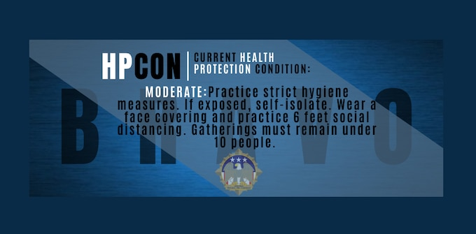 Image shows the HPCON Bravo status and Joint Base emblem and describes the Bravo conditions.