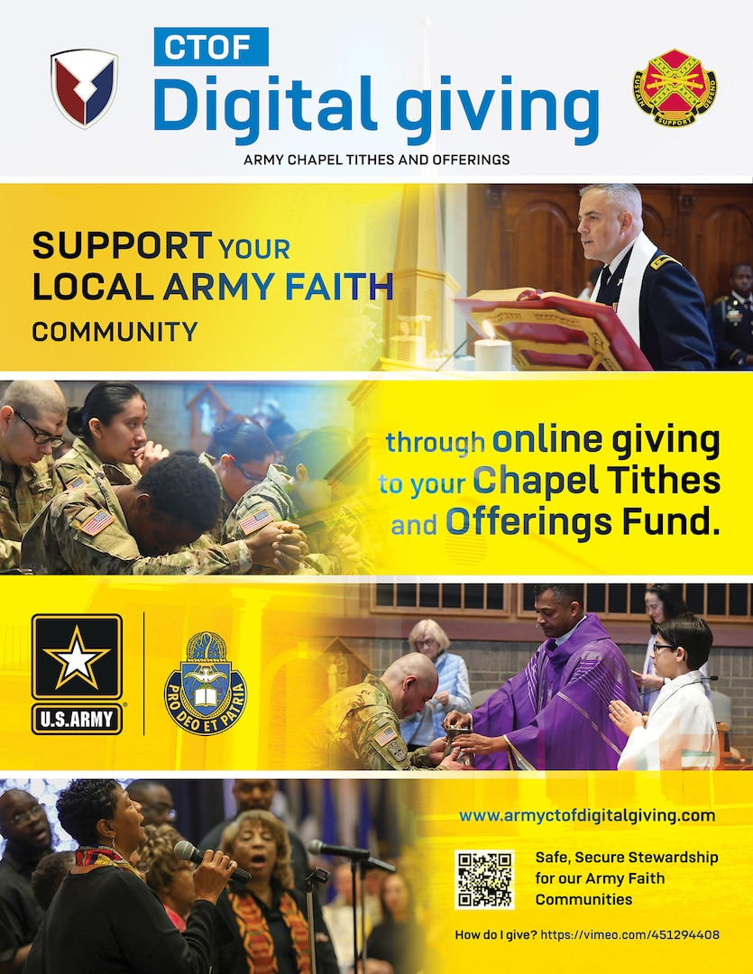 Soldiers, their families and civilians who attend chapel at any Army post across the world can now give their tithes and offerings online.