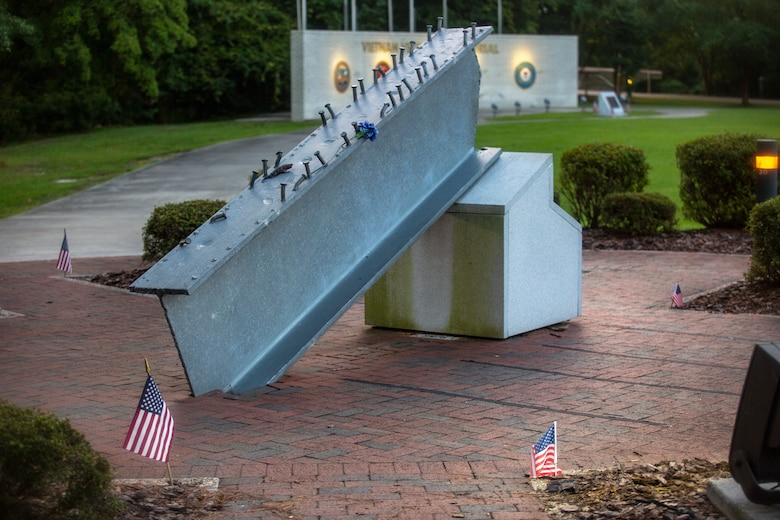 The 9/11 Memorial stands as a visual reminder of that fateful day at the Lejeune Memorial Gardens, Jacksonville, North Carolina, Sept. 1, 2020. This year marks the 19th anniversary of Patriots Day, which honors the nearly 3,000 American citizens, civil servants, and first responders whose lives were taken as a result of the terrorist attacks that took place on Sept. 11, 2001. (U.S. Marine Corps Photo by Lance Cpl. Isaiah Gomez)
