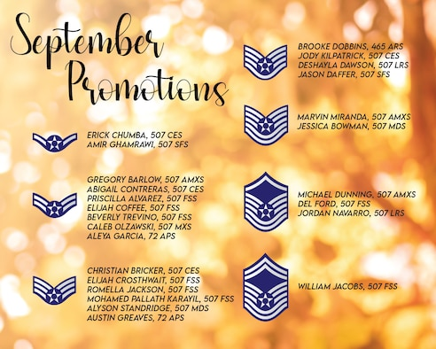 The September 2020 Enlisted Promotions graphic from the 507th Air Refueling Wing at Tinker Air Force Base, Oklahoma. (U.S. Air Force graphic by Senior Airman Mary Begy)