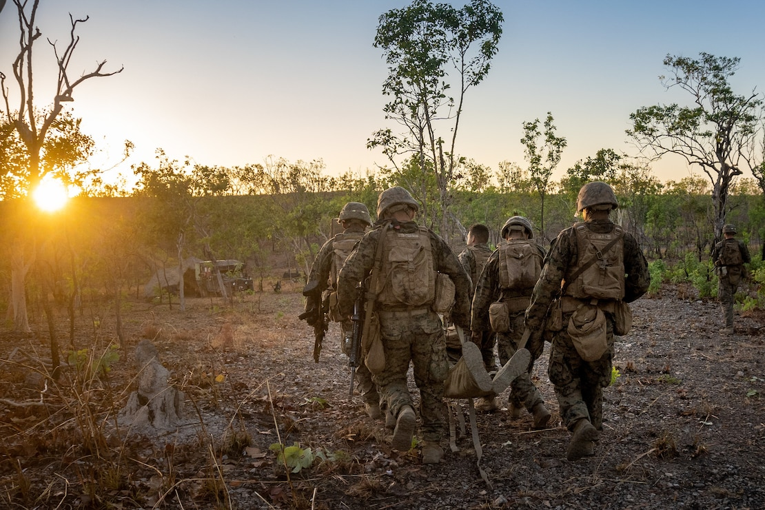 U.S. Marines and sailors engage in casualty evacuation drills during Exercise Koolendong in Australia, Sept. 10.