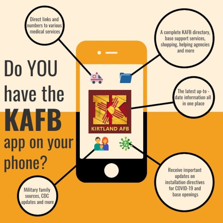 Infographic showing features of the Kirtland phone app