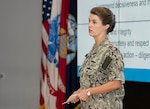 Navy Rear Adm. Kristen Fabry hosted her first Town Hall Sept. 10 as commander of Defense Logistics Agency Land and Maritime. The event was live-streamed to accommodate the DLA Land and Maritime associates currently on maximum telework or located at shipyards and detachments across the country.