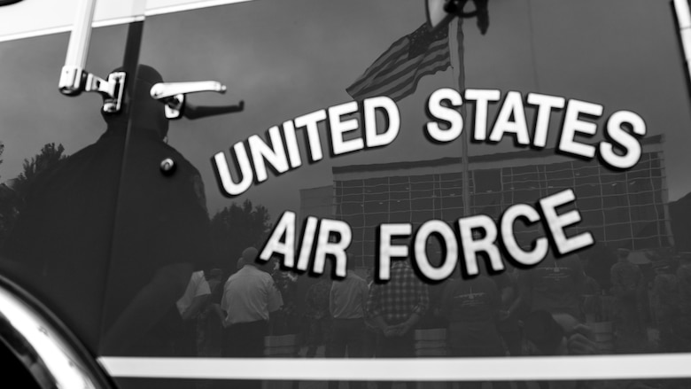 Reserve Citizen Airmen of the 910th Airlift Wing attend Youngstown Air Reserve Station's 9/11 remembrance ceremony, Sept. 11, 2020. The installation has held a ceremony every year to honor those who lost their lives in the terrorist attacks on Sept. 11, 2001.