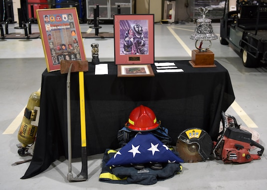 A 9/11 memorial is displayed at the Louis F. Garland Department of Defense Fire Academy dedicated to the firefighters who bravely ran into a burning building to rescue others, on Goodfellow Air Force Base, Texas, September 11, 2020. Of the 412 first responders who died in the September 11 attacks, 343 were firefighters. (U.S. Air Force photo by Airman 1st Class Ethan Sherwood)