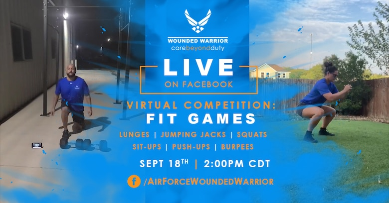 The Air Force Wounded Warrior Program (AFW2) is holding their first ever Fit Games on Friday, September 18th, at 2:00 p.m. CDT. Fourteen athletes will compete in six rounds of six bodyweight exercises for time. (U.S. Air Force Graphic by Melissa Espinales)