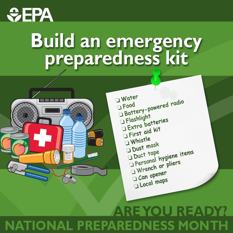 This is an infographic for emergency preparedness month on items to include in an emergency kit.
