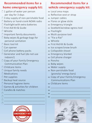 "Part of having a winter readiness plan is having the supplies necessary to get through an emergency or power outage for at least 72 hours, and having sufficient supplies in your vehicle. Fort Drum's emergency manager is reinforcing a ""Make a Plan"" awareness campaign so community members start preparing now for the winter ahead. (Courtesy Graphic)"