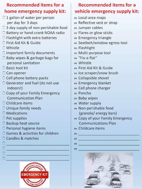 """Part of having a winter readiness plan is having the supplies necessary to get through an emergency or power outage for at least 72 hours, and having sufficient supplies in your vehicle. Fort Drum's emergency manager is reinforcing a """"Make a Plan"""" awareness campaign so community members start preparing now for the winter ahead. (Courtesy Graphic)"""