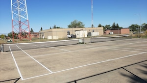New nets and paint on tennis courts at Minot Air Force Base North Dakota.  5th Civil Engineering Squadron contracted a new painting of the lines and replaced the tennis nets in August, 2020. (U.S. Air Force photo by Staff Sgt. Steven Adkins)