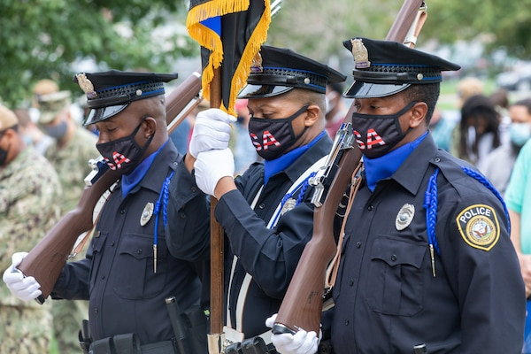Norfolk Naval Shipyard's Police Force provided an Honor Guard at the Patriot Day Ceremony Sept. 11, 2020. Members of the honor guard bowed their heads in prayer to honor the fallen from Sept. 11, 2001.