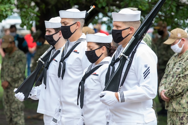Norfolk Naval Shipyard Sailors provided a color guard for the Patriot Day Ceremony Sept. 11, 2020. Members of the color guard bowed their heads in prayer to honor the fallen from Sept. 11, 2001.