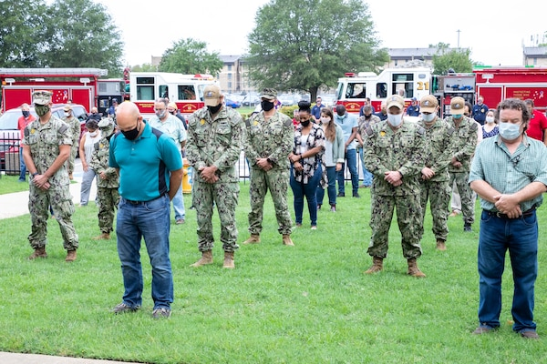 Norfolk Naval Shipyard employees, tenants, Sailors, and emergency personnel came together to honor the fallen during the Patriot Day Ceremony Sept. 11, 2020.