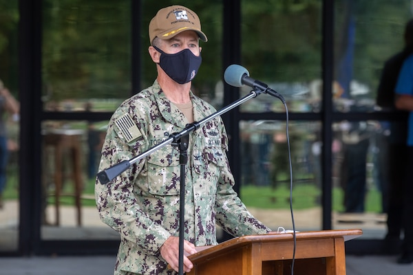 Norfolk Naval Shipyard Commander, Capt. Kai Torkelson, spoke at the Patriot Day Ceremony at America's Shipyard, sharing how NNSY provided aid during 9/11, and the work and commitment being continued today.
