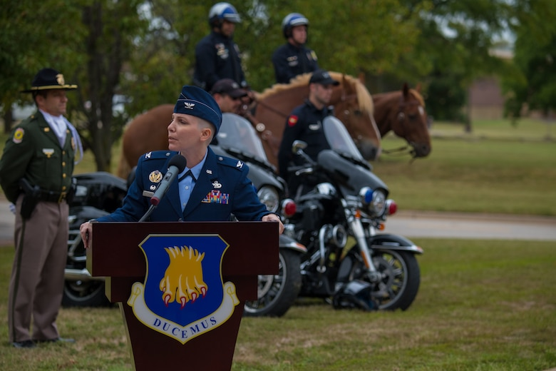 Col. Emily Farkas, 22nd Maintenance Group commander, speaks at the Patriot Day Retreat Ceremony Sept. 11, 2020, at McConnell Air Force Base, Kansas. The ceremony was held to honor the civilians and first responders who lost their lives during the 9/11 terrorist attacks. (U.S Air Force photo by Airman 1st Class Marc A. Garcia)