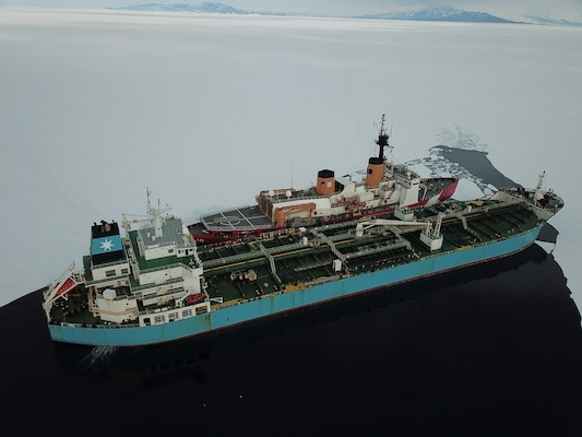 MT Maersk Peary conducts and at-sea fuel transfer with the United States Coast Guard ice-breaker Polar Star en rout to McMurdo Station Antarctica.