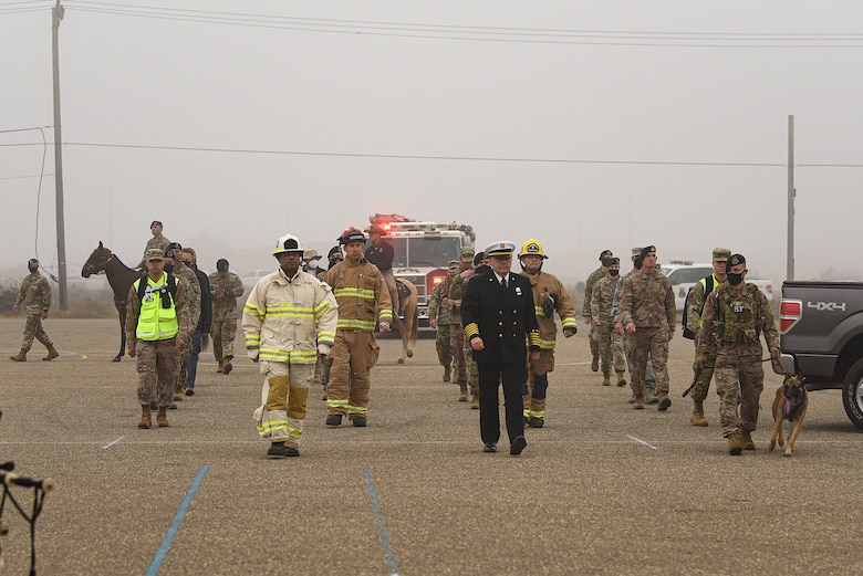 Vandenberg Air Force Base first responders participate in a silent march on their way to the annual 9/11 Remembrance Ceremony Sept. 11, 2020, at Vandenberg AFB, Calif. After the march, attendees and first responders gathered to remember and honor those who lost their life during the terrorist attacks against the United States on Sept. 11, 2001. The attacks killed roughly 3,000 people, including citizens from over 78 countries. (U.S. Air Force photo by Senior Airman Hanah Abercrombie)