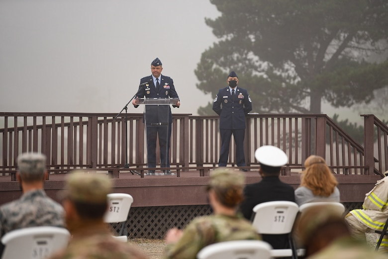 Col. Anthony Mastalir, 30th Space Wing commander, gives a speech during the annual 9/11 Remembrance Ceremony Sept. 11, 2020, at Vandenberg Air Force Base, Calif. The speeches during the ceremony honored first responders and citizens who lost their lives in the terrorist attacks in New York City, New York, at the Pentagon and Pennsylvania on Sept. 11, 2001. The ceremony also featured a bell ringing, silent march and an honor guard. (U.S. Air Force photo by Senior Airman Hanah Abercrombie)