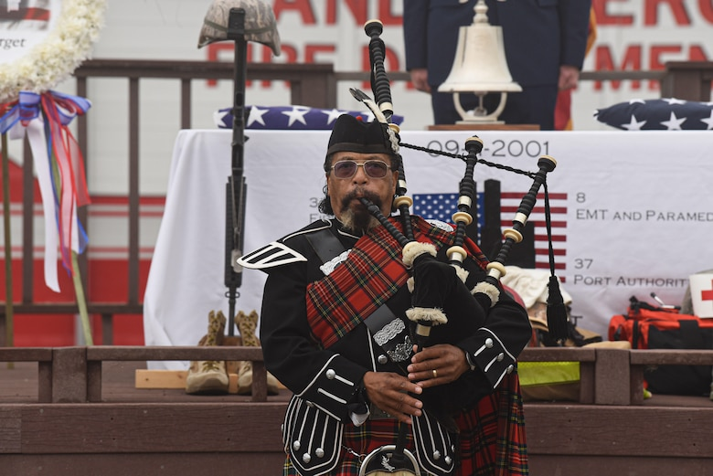 A bag pipe player performs 'Amazing Grace' during the during the annual 9/11 Remembrance Ceremony Sept. 11, 2020, at Vandenberg Air Force Base, Calif. The ceremony honored first responders and citizens who lost their lives in the terrorist attacks on Sept. 11, 2001. The attacks killed roughly 3,000 people, including citizens from over 78 countries. (U.S. Air Force photo by Senior Airman Hanah Abercrombie)