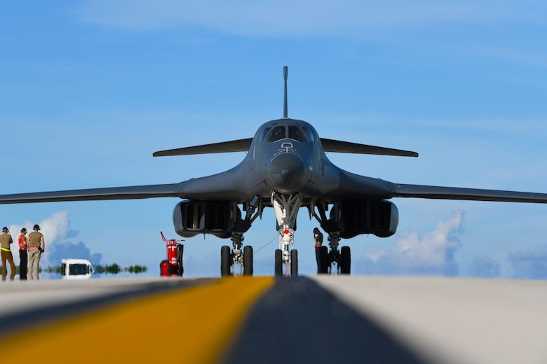A B-1B Lancer assigned to the 34th Bomb Squadron, Ellsworth Air Force Base, S.D., taxis at Andersen AFB, Guam, after arriving for a Bomber Task Force deployment, Sept. 10, 2020. Approximately 200 Airmen and four B-1s assigned to the 28th Bomb Wing at Ellsworth AFB, South Dakota, deployed to the Pacific in support of the Bomber Task Force employment model. The BTF is deployed to Andersen AFB to support Pacific Air Forces' training efforts with allies, partners and joint forces; and strategic deterrence missions to reinforce the rules-based order in the Indo-Pacific region. (U.S. Air Force photo by Staff Sgt. Nicolas Z. Erwin)