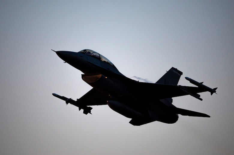 An F-16 Fighting Falcon, assigned to the 510th Fighter Squadron, Aviano Air Base, Italy, flies over Royal Air Force Lakenheath, England, Sept. 9, 2020. The 510th FS is conducting close air support training with the 321st Special Tactics Squadron, the 19th Regiment Royal Artillery and the 2nd Air Support Operations Squadron to improve combat capabilities and interoperability between allied nations. (U.S. Air Force photo by Airman 1st Class Jessi Monte)