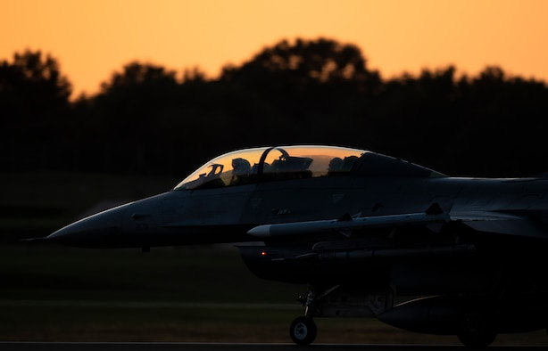 An F-16 Fighting Falcon, assigned to the 510th Fighter Squadron, Aviano Air Base, Italy, lands at Royal Air Force Lakenheath, England, Sept. 9, 2020. The 510th FS is conducting close air support training with the 321st Special Tactics Squadron, the 19th Regiment Royal Artillery and the 2nd Air Support Operations Squadron to improve combat capabilities and interoperability between allied nations. (U.S. Air Force photo by Airman 1st Class Jessi Monte)
