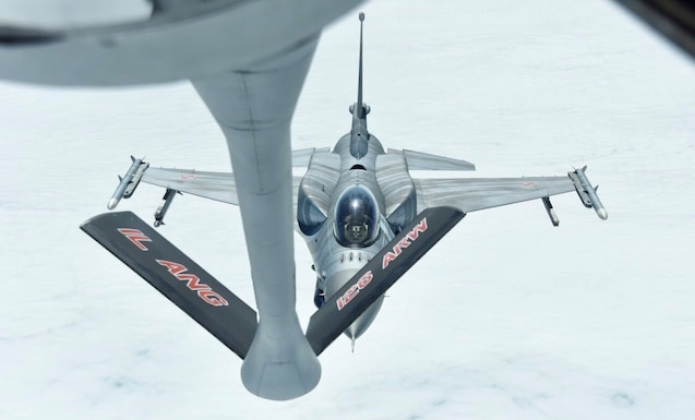 Polish Air Force F-16s are practicing aerial refueling with a U.S. Air Force KC-135.