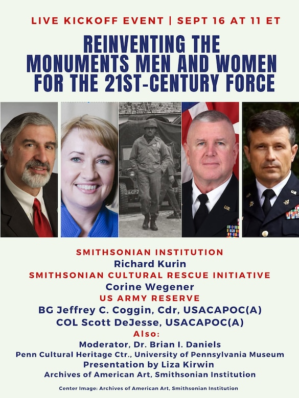 "Infographic from the Smithsonian Cultural Rescue Initiative and the U.S. Army Civil Affairs and Psychological Operations Command (Airborne) for the ""Reinventing the Monuments Men and Women for the 21st-Century Force"" virtual event celebrating the inaugural training event of the next generation of Monuments Men and Women who will help to save conflict-affected cultural heritage around the world."