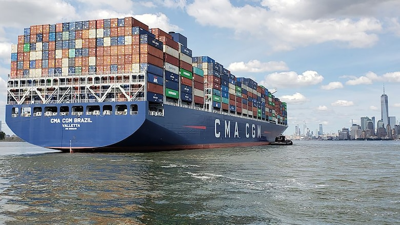 The container ship CMA/CGM Brazil enters the New York Harbor.