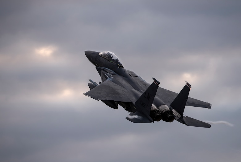An F-15E Strike Eagle assigned to the 494th Fighter Squadron flies overhead in support of exercise Point Blank 20-4 at Royal Air Force Lakenheath, England, Sept. 10, 2020.  Exercises like Point Blank increase interoperability and collective readiness with other NATO forces, deter potential adversaries and ensure the skies above the European theater remain sovereign. (U.S. Air Force photo by Airman 1st Class Jessi Monte)