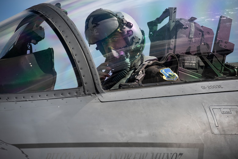 A U.S. Air Force pilot assigned to the 48th Fighter Wing observes ground checks prior to takeoff in support of exercise Point Blank 20-4 at Royal Air Force Lakenheath, England, Sept. 10, 2020.  Exercises like Point Blank increase interoperability and collective readiness with other NATO forces, deter potential adversaries and ensure the skies above the European theater remain sovereign. (U.S. Air Force photo by Airman 1st Class Jessi Monte)