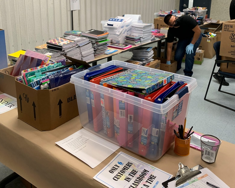 The 144th Fighter Wing's Airman and Family Readiness hosted its annual School Supply Giveaway for military families. Student flight members and volunteers from the Airmen and Family Readiness Office helped to set up the supplies.