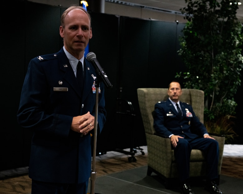 Col. Joe Janik, the commander of the 910th Airlift Wing, gives a speech at Lt. Col. Joe Winchester's assumption of 910th Maintenance Group command ceremony, Sept. 12, 2020, at Youngstown Air Reserve Station. Winchester replaced the outgoing commander, Col. Sharon Johnson.