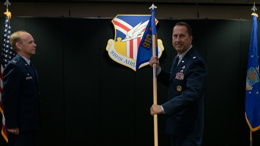 Lt. Col. Joe Winchester, the 910th Maintenance Group commander, officially assumes command of the 910th MXG, Sept. 12, 2020, at Youngstown Air Reserve Station. Winchester replaced the outgoing commander, Col. Sharon Johnson.