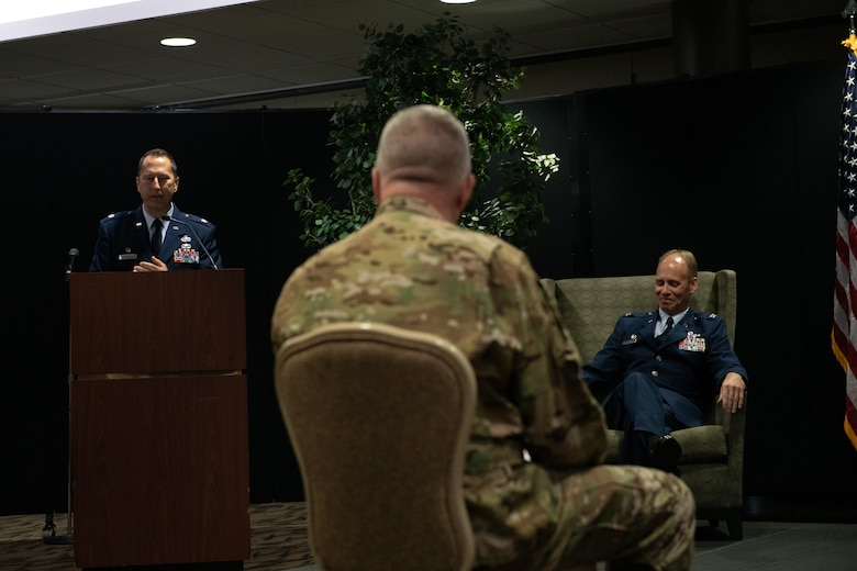 Lt. Col. Joe Winchester, the 910th Maintenance Group commander, gives a speech at his assumption of command ceremony, Sept. 12, 2020, at Youngstown Air Reserve Station. Winchester replaced the outgoing commander, Col. Sharon Johnson.