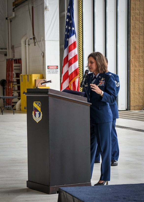 Col. Adria Zuccaro gives remarks during her assumption of command ceremony at the 128th Air Refueling Wing, Wisconsin Air National Guard, Milwaukee, Sept. 12, 2020. During her speech Zuccaro referenced innovation and diversity, two elements of the strategic approach laid out by Gen. Charles Brown, Air Force Chief of Staff. (U.S. Air Force photo by Airman 1st Class Madison Knabe)